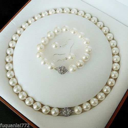 """16/"""" 18/"""" 24/"""" 8mm White Akoya Shell Pearl Round Beads Necklace Earrings Set AAA"""