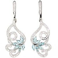 Gorgeous Blood Ruby Tourmaline Blue Topaz Tanzanite Woman S Wedding 925 Silver Earrings 39x15mm