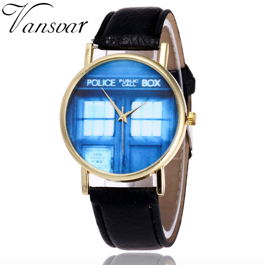Vansvar Top Brand Luxury Women Watches Fashion Doctor Who Watch Casual Tardis Leather Phone booth Quarzt Watch Montre Femme 2098 old antique bronze doctor who theme quartz pendant pocket watch with chain necklace free shipping
