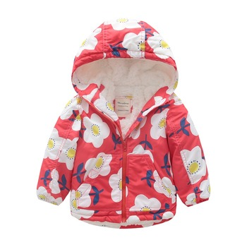 M123 Spring Autumn Outwear Fashion Flower Printing Hoodies Child Winter Thicken Padded Jacket Kids Tops Boy&Girl Keep Warm Coat