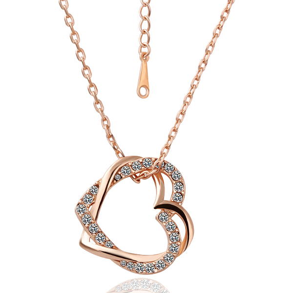 Rose gold color silver color rhinestone crystal double heart rose gold color silver color rhinestone crystal double heart pendant necklace fashion jewelry wedding gift for women in pendant necklaces from jewelry mozeypictures Images
