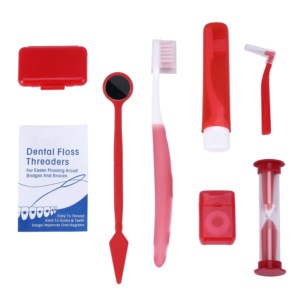 8pc/Bag Orthodontic Oral Care Kit Teeth Whitening Tooth Brush Mouth Mirror Interdental Brush Dental Flosser Oral Dentist Tools(China)
