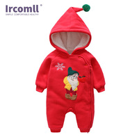 Ircomll Spring Autumn Christmas Baby Rompers Cartoon Father Christmas Hooded Toddler Boys Girls Jumpsuit Newborn Infant Outwear