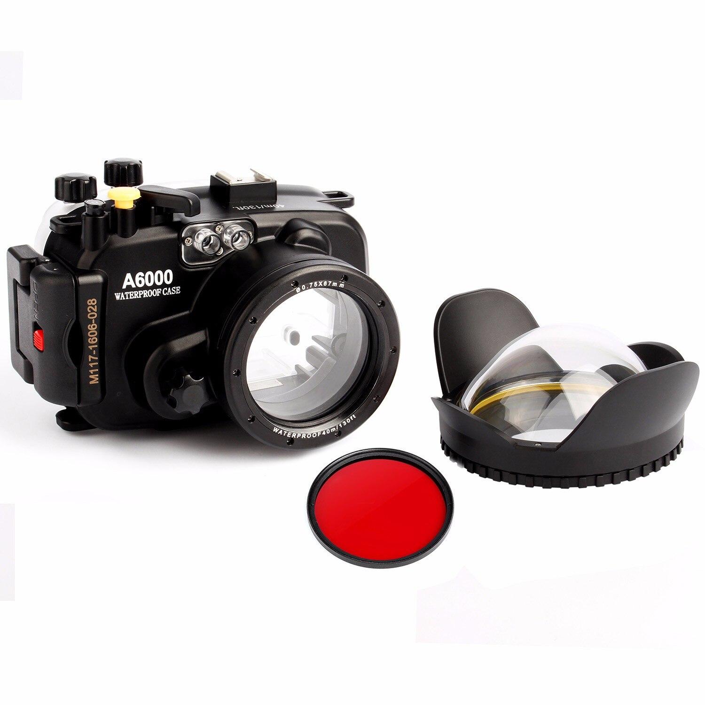 40 m 130ft sous-marine Caméra étanche pour sony A6000 (16-50mm lentille) + 67mm fisheye dôme port lentille + 67mm rouge filtre