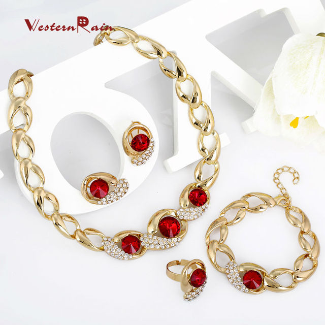 WesternRain Crystal Jewelry Set Wholesale Gold Plated Jewelry Set With Crystal Necklace For Bridal Bridal Wedding Party A033R