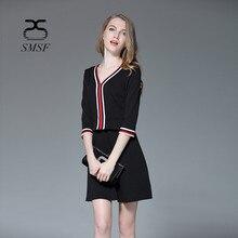 Smsf 2 Цвет осень Хлопковое платье Винтаж вязаное платье Повседневное Платья для вечеринок женский Черная пятница элегантный Платья для женщин для Для женщин