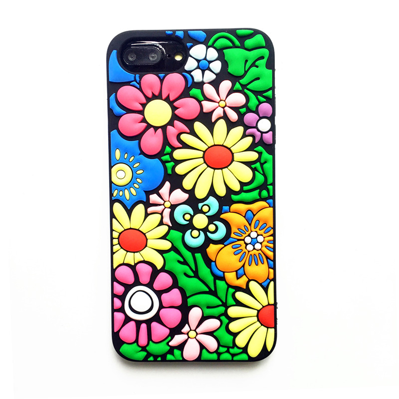 New Colorful Flower Soft Silicone Case Cover For IPhone X 7 8 Plus 6 6s Plus XS MAX XR Cute 3d Sunflower Rubber Phone Bag Fundas