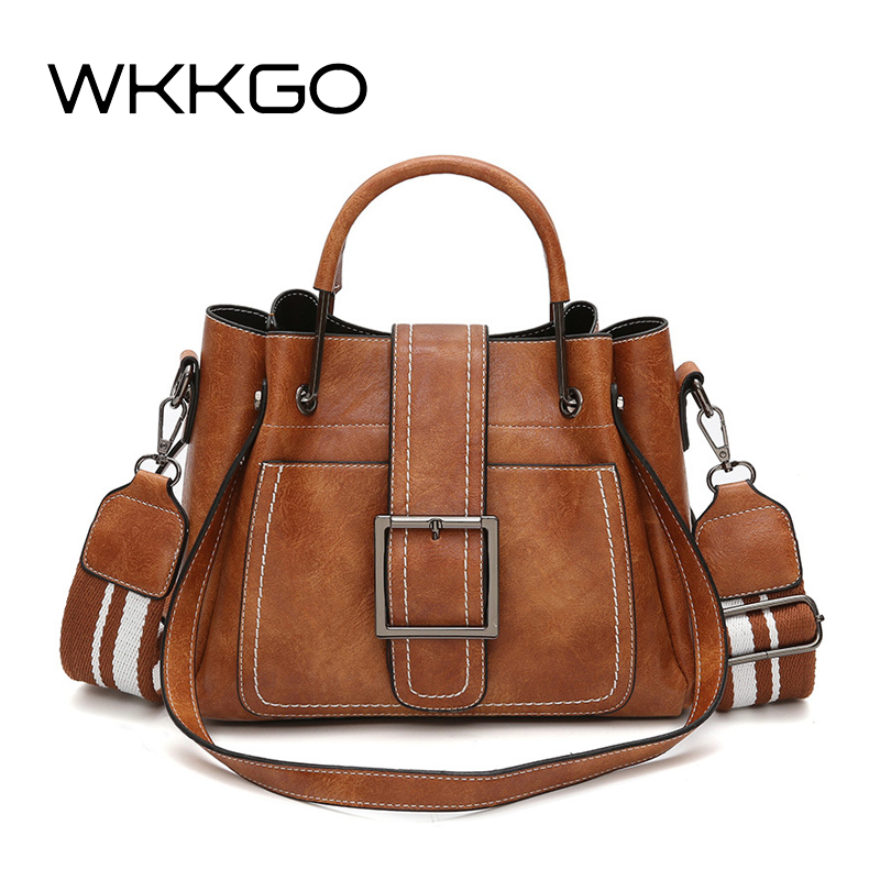 WKKGO High Quality Women Handbags Ribbon Shoulder Strap Vintage Women's Bags PU Leather Messenger Famous Designer Crossbody Bags