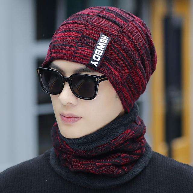 Gorro de punto invierno con bufanda de lana