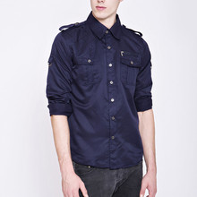 2017 Spring and Autumn New Men's Casual Long Sleeve Lapel Turn Down Collar Shirts / Men's Tooling Stitching Shirt Blouses