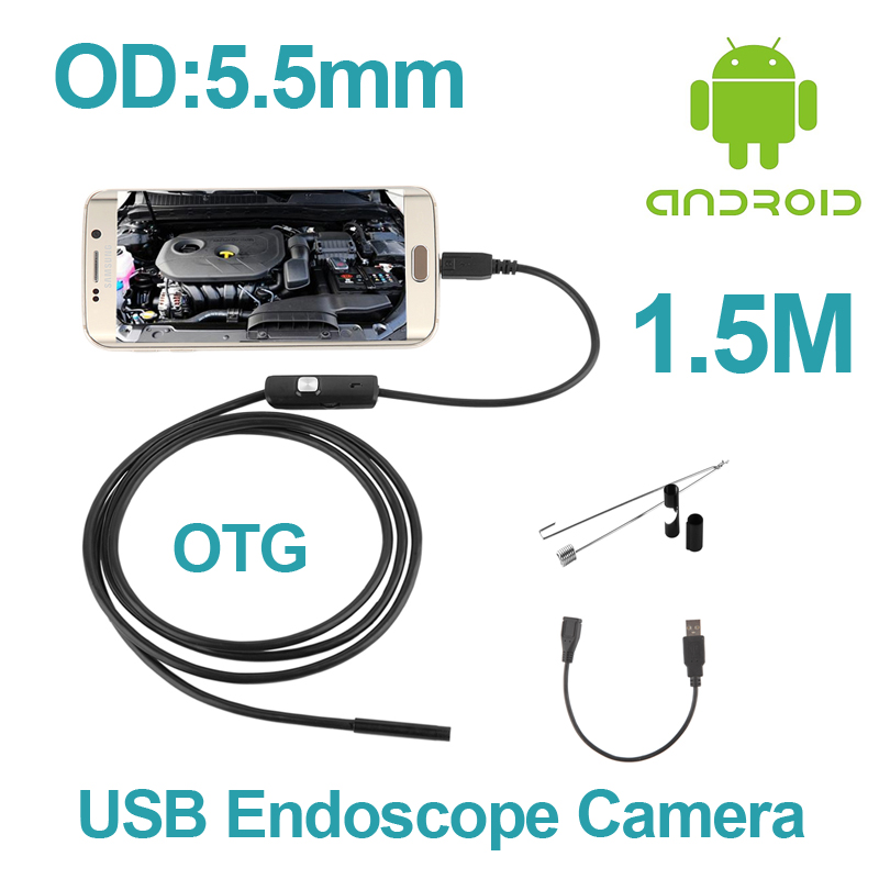 Digital OTG USB Endoscope Camera 1.5M Android Phone Borescope 5.5mm USB Snake Pipe Inspection Camera Micro USB Endoscope Camera headset bullet usb otg compatible android smartphones digital camera