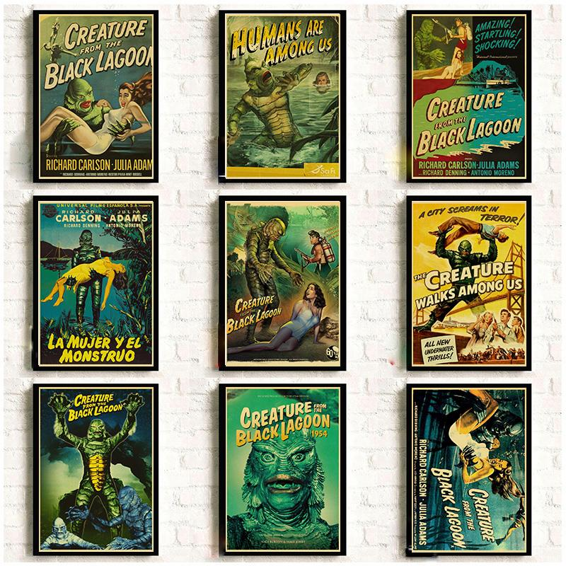 American Horror Movie Creature From The Black Lagoon Retro Posters Good Quality Wall Posters/Painting Wall Sticker