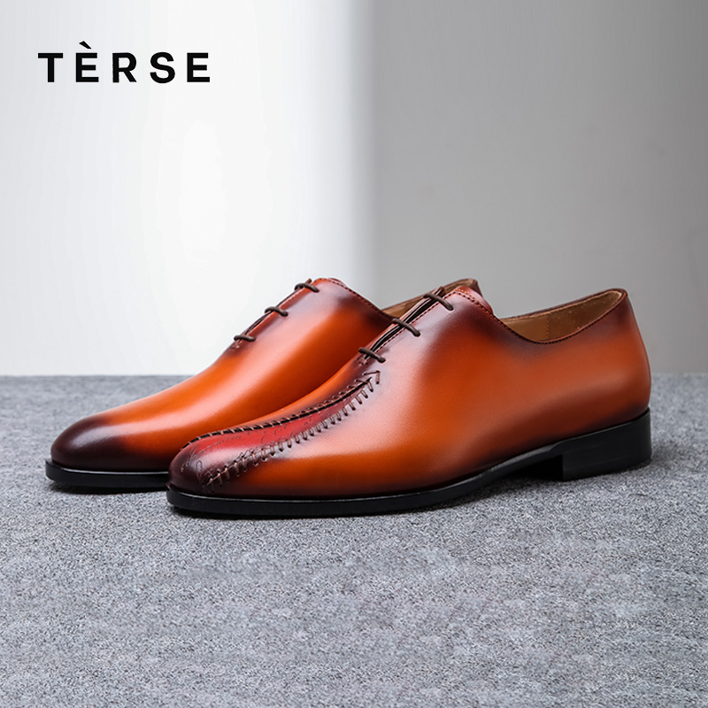 TERSE Men Dress Shoe Handmade Genuine Leather Oxford Footwear Male Patch Tobacco Blue Color Wedding Shoes Custom Service 1515-9