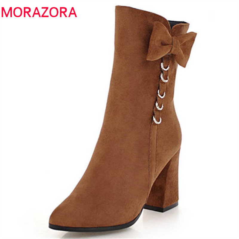 MORAZORA 2020 new arrival ankle boots women pointed toe flock high heels boots simple zipper autumn
