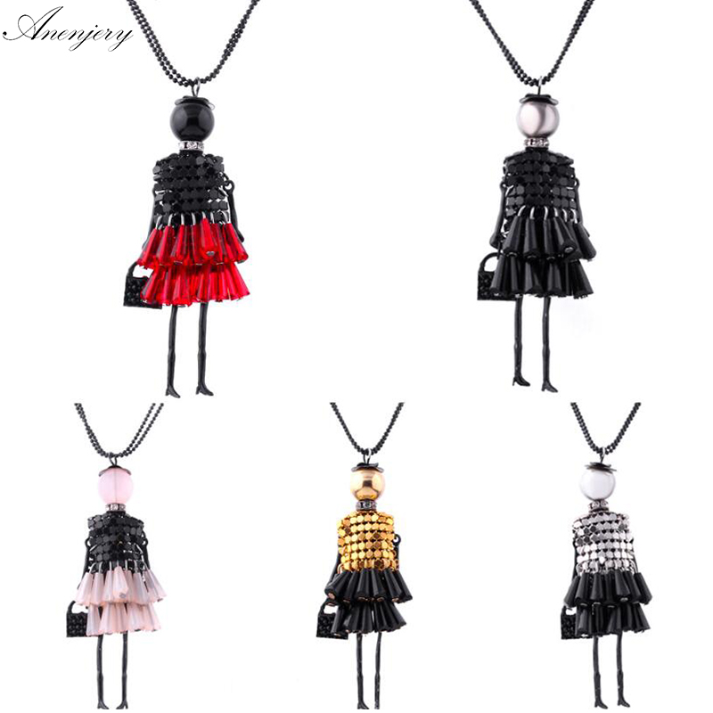 2015 News Handmade Dress Crystal Piece Sequins Girl Doll Pendants Long Necklace Sweater Chain collier Women Accessories N437