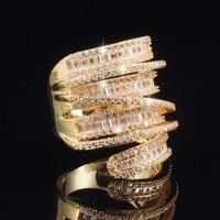 럭셔리 헬기 세트 전체 광장 T 시뮬레이션 다이아몬드 보석 반지 보석 여성 실버 14 천개 골드 도금 칵테일 밴드 반지 사이즈 5-10