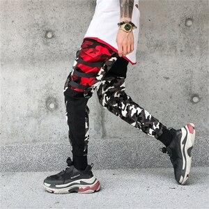 Image 3 - Color Block Patchwork Camo Jogger Pants Mens 2018 New Hip Hip Streetwear Cargo Trousers Brand Designer Hiphop Pants WS172