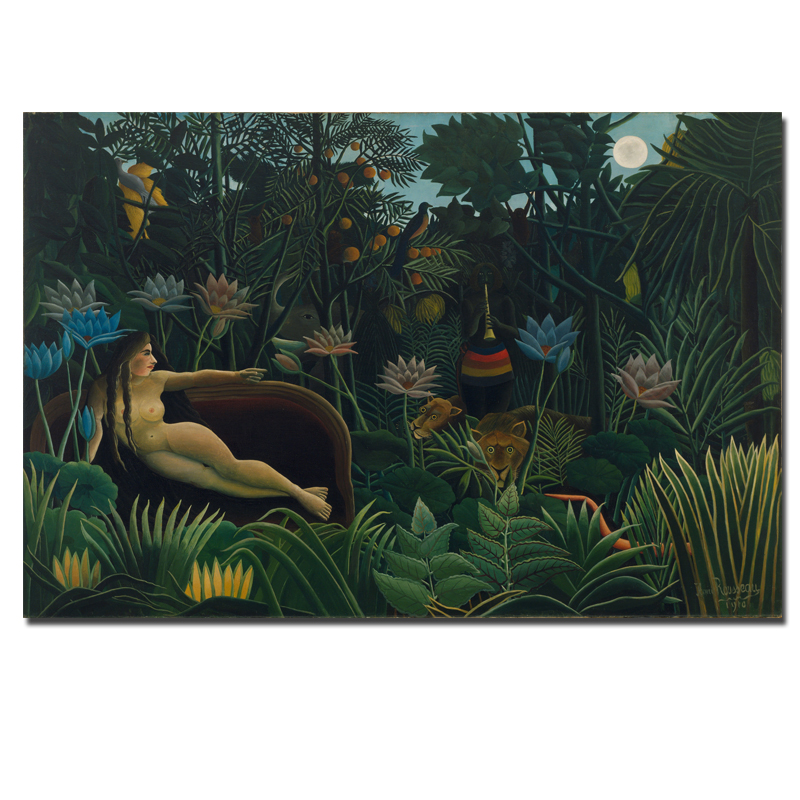 Rousseau Still Life Classical Oil Painting Nude Girl With Animals Abstract Landscape -2963