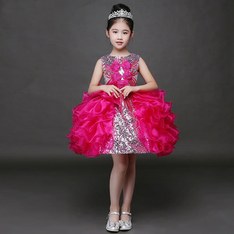 2 Style Luxury Trailing Ball Gown Beading Girls Wedding Dresses Summer 2017 New Princess Dresses Kids Girls Clothes P33