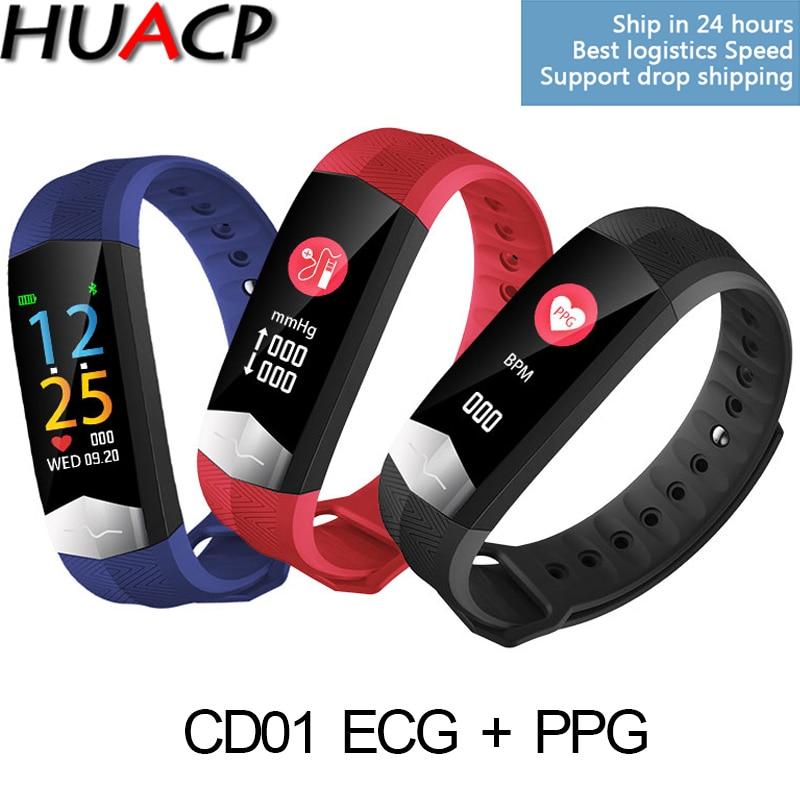 HUACP R11 CD01 FARBE EKG + PPG Fitness Armband Blutdruck HRV Herz Rate Meter Passometer Tracker Wasserdicht Smart Band