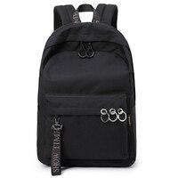 Ulzzang Women School Laptop Backpack Keyring Bagpack Leisure Travel Daily Black Backpacks School Bag for Lady Mochila Feminina