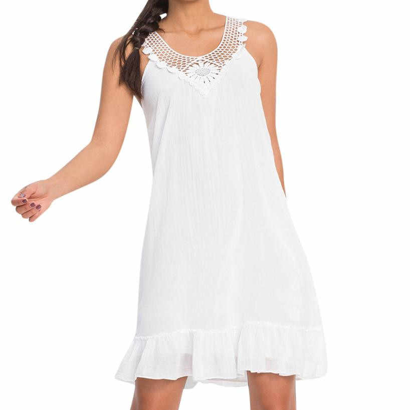 7b67301830 Sleeveless O Neck Lace Mini Ruffle Dress Women Dresses Off Shoulder  Straight Preppy Style Beach Dress White Sundress Dresses#21