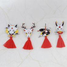 1 шт. булавка Kitsune японский Олень Кролик змея лиса Кабуки ниндзя маска с красной брошь с кисточкой Нагрудный значок булавка значки брошь