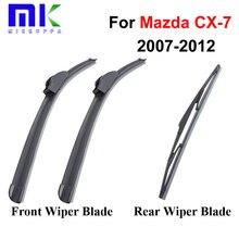 Front And Rear Wiper Blades For Mazda CX-7 2007 2008 2009 2010 2011 2012 Windshield Windscreen Rubber Wiper Auto Car Accessories
