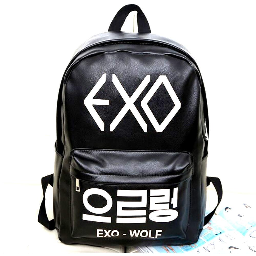 2018 New Korean KPOP PU School Boys Backpack Teenage Girls EXO Bags Fashion Backpack Rucksacks Women Mochila youpop kpop blackpink album laser pu bag jewelry admission package new fashion backpack bags sjb618