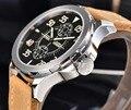 Мужские автоматические часы Parnis  механические наручные часы 43 мм с запасом мощности  Автоматическая Дата  кожаный подарок для мужчин