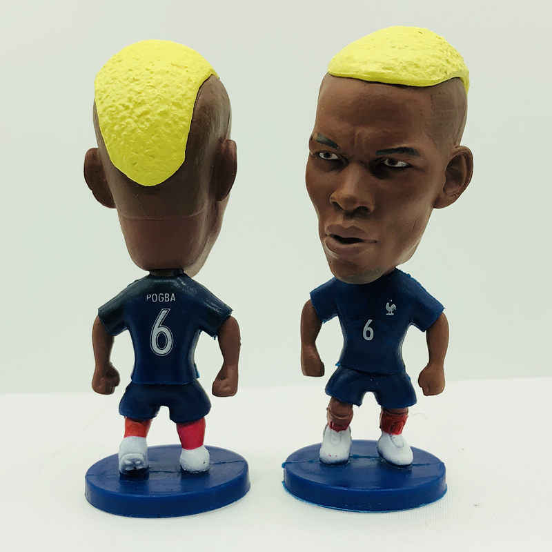Soccerwe Pogba Doll 2016 Series France 6# National Team Blue Kit Midfielder Figurine 2.6 Inches Height Resin