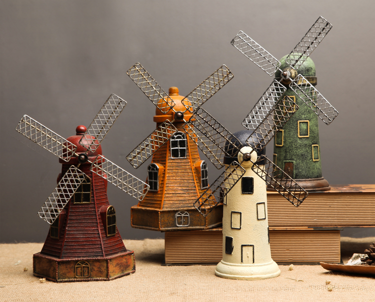 Retro Dutch Windmill Home Decor Metal Craft Antique Bronze Windmill Model Wedding Decoration Birthday Gifts