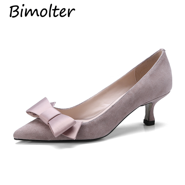 Bimolter Sheep suede Pumps 5cme Elegant Thin High Heels Genuine Leather Ladies Shoes Pointed Toe Bowtie Shoes Party Pumps NA030