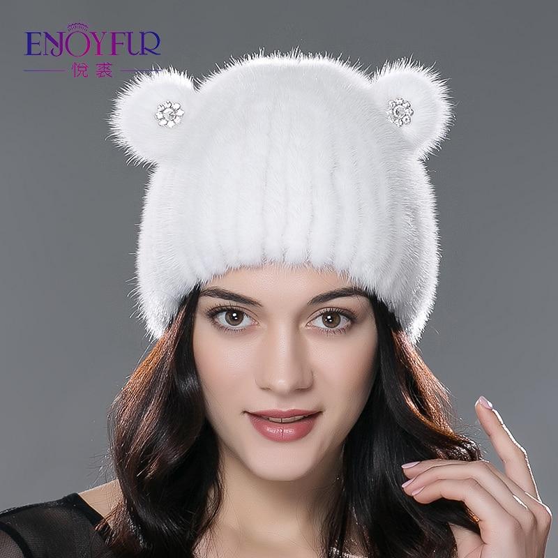 ENJOYFUR women winter fur hat knitted mink fur beanies cap thick warm lovely cat fur hat
