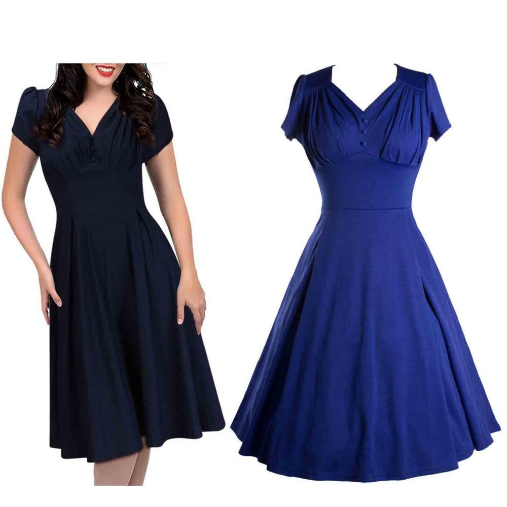 Women Audrey Hepburn Style Vintage Dress 2016 Puff Sleeve ...