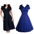 Women Audrey Hepburn Style Vintage Dress 2016 Puff Sleeve Ruched V-neck Party Elegant 1950s Rockabilly Swing Dresses