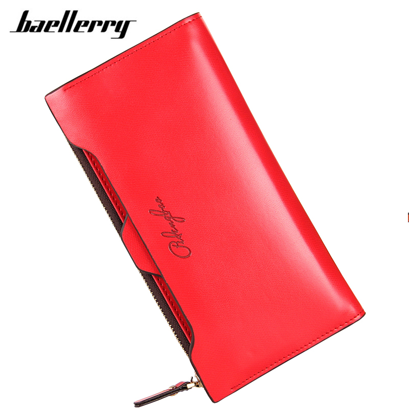 Baellerry Womens Wallets and Purses 2017 Long Clutch Lady Leather Wallets Women England Style Card Holder Coin Purse Zipper Bag brand double zipper genuine leather men wallets with phone bag vintage long clutch male purses large capacity new men s wallets