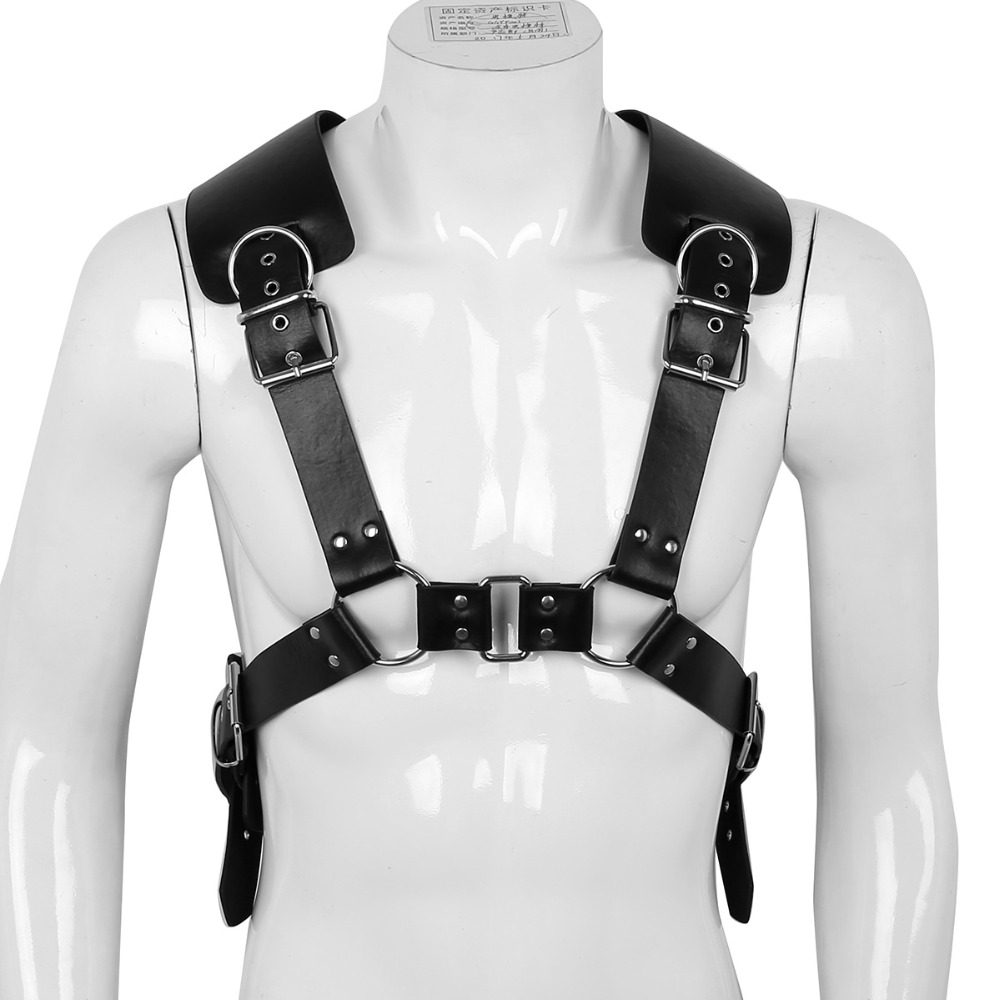 Male Mens Adjustable PU Leather X Back Body Chest Half Harness Belt with Buckles and Metal O-Rings Nightclub Clubwear Clothes