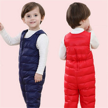 2017 winter children kids duck down bib pants overalls toddler baby boys girls thick warm trousers bebe clothes