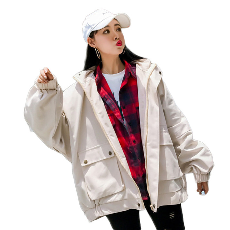 2019 New Spring Autumn Women   Trench   Coat Female Korean Casual Hooded Loose Overcoats Ladies Large Size Outwear Windbreaker M183