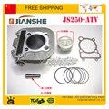Envío jianshe basán 250cc ATV loncin refrigerado por aire del cilindro compl conjunto del bloque 70 mm piston ring set envío gratis