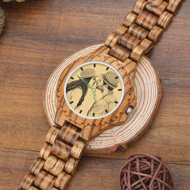 De los hombres de madera foto reloj de madera Correa personalizada Impresión de diseño personalizado en la demanda Dropshipping. exclusivo. Shopify