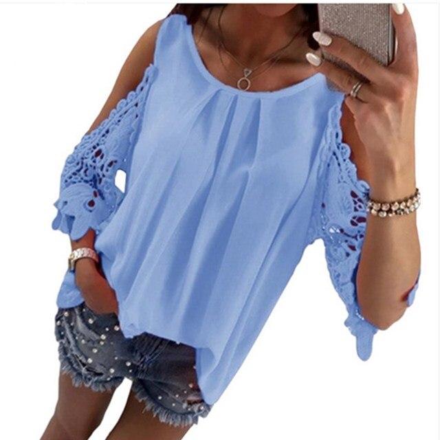 LOSSKY נשים צמרות חולצה חולצה 2018 קיץ למעלה מקרית הולו מתוך שרוול מכתף חולצה גבירותיי חולצה Boho טוניקת חולצות