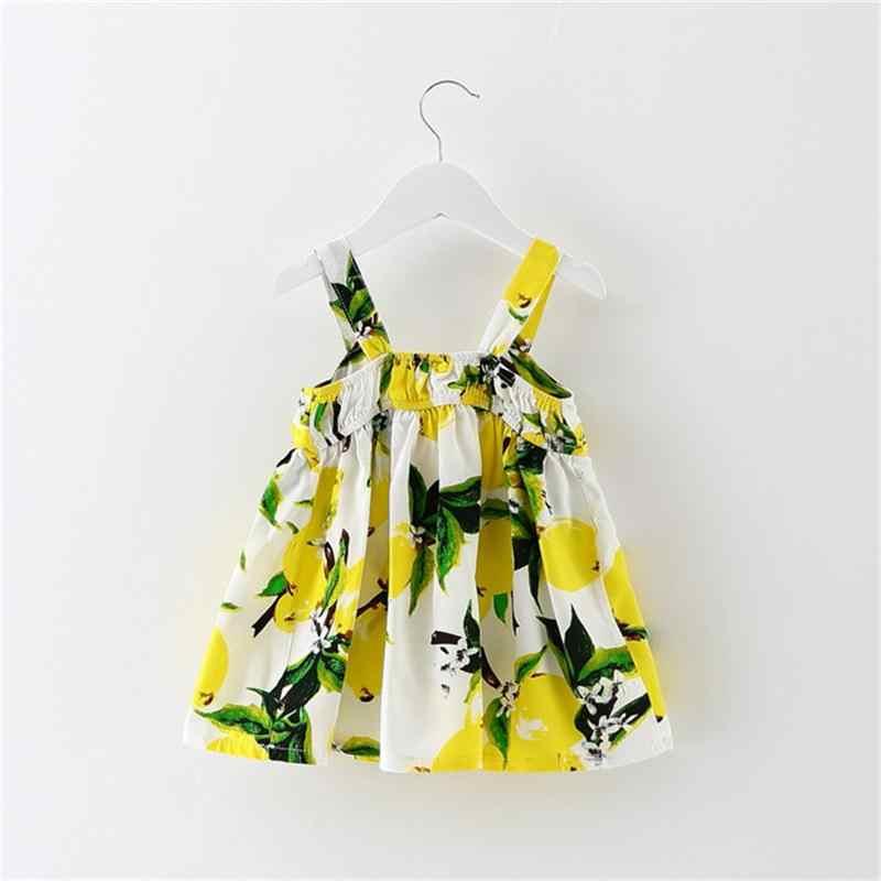 От 1 до 2 лет летнее платье без рукавов для девочек, милая одежда с фруктовым узором для маленьких девочек, детские платья-пачки с цветочным рисунком для девочек, одежда для девочек