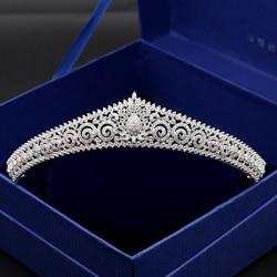 Paved Zircon Crown Full Cubic Zirconia Tiara CZ Tiaras Classic Bridal Diadema Wedding Hair Accessories Coroa Noiva WIGO1160