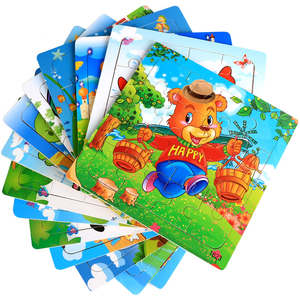 Creative Educational Wooden Puzzles Toys for Kids 20 Pieces Cartoon Cute Animals Jigsaw Puzzles Baby Learning Toys
