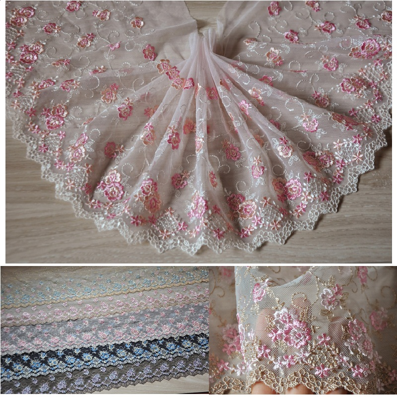 19cm(4meters/lot) free shipping Pink/ Grey black polyester lace trim mesh embroidered accessary Z1259