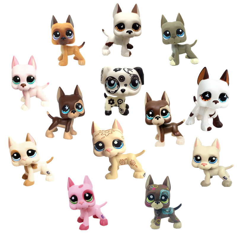 Rare Lps Pet Shop Toys Great Dane Cocker Spaniel Pink Dog Black Short Hair Cat Collection Action Standing Cosplay Children Gifts