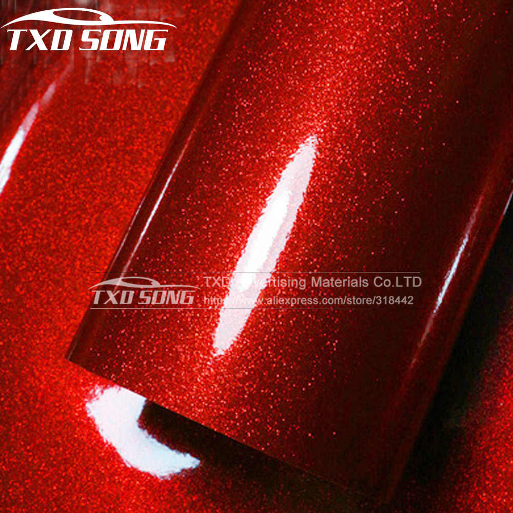 Premium glossy Hoge Rode Diamant parel glitter wrapping vinyl film Glossy red diamond glitter auto sticker 12/30/ 50/60*100 CM/LOT