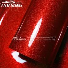 Premium Glossy Hoge Rode Diamant Parel Glitter Wrapping Vinyl Film Glossy Red Diamond Glitter Auto Sticker 12/30/50/60*100 Cm/lot